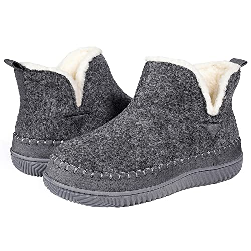 ZIZOR Pantuflas tipo mocasín para mujer con espuma viscoelástica acogedora - Zapatos de casa tostados con suela de goma dura para interiores y exteriores [gris - 8 UK]