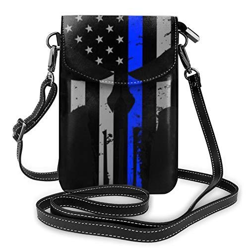 Bolso ligero de piel sintética para teléfono celular, diseño de rayas, estrellas, calaveras, pequeñas bolsas de hombro, cartera para mujer, color Negro, talla Talla única