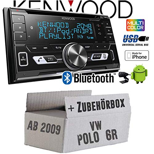 Autoradio Radio Kenwood DPX-5100BT - 2-DIN Bluetooth USB Apple Android Autoradio PKW KFZ Paket - Einbauzubehör - Einbauset für VW Polo 6R - JUST SOUND best choice for caraudio