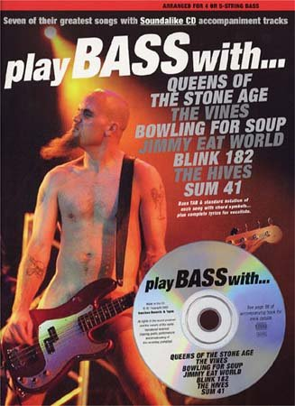 MUSIC SALES PLAY BASS WITH QUEENS, SUM 41 , BLINK 182.. + CD - BASDS TAB Sheet music pop, rock Bass tablatures