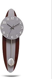 Wall Clock Non-Ticking Wall Clock ساعة برودة ساعة بندول ساعة بندول براون الصلبة خشب الخشب الهاتفي (مرتفع 60 سم) Modern Wal...