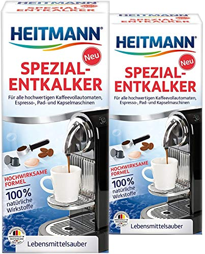 Heitmann Kaffeevollautomaten Entkalker: Kalklöser für Kaffeemaschinen, Espressomaschinen, Padmaschinen, 2x 250 ml
