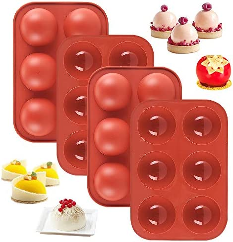 Medium Semi Sphere Silicone Mold 4 Packs Baking Mold for Making Hot Chocolate Bomb Cake Jelly product image