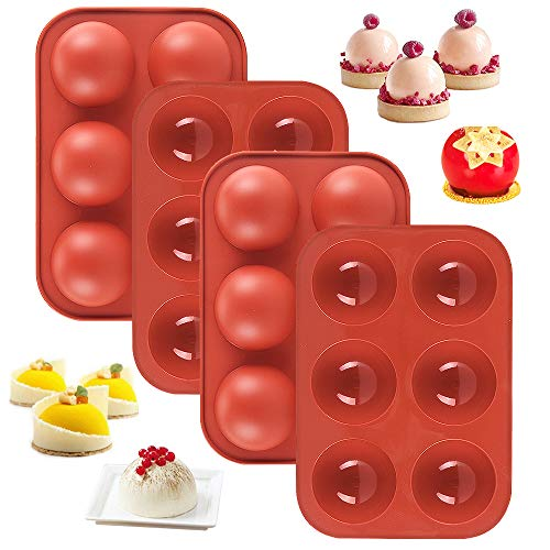 6 Holes Silicone Mold For Chocolate bomb, Cake, Jelly, Pudding, 2' inch 4 Packs
