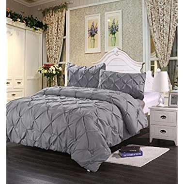 Homehug Polyester King Size 1800 Pinch Pleat Puckering Comforter Set, Wrinkle Resistance, 3-Peices, Grey