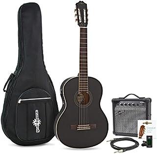 Guitarra Clásica Electroacústica Deluxe + Amplificador Negro