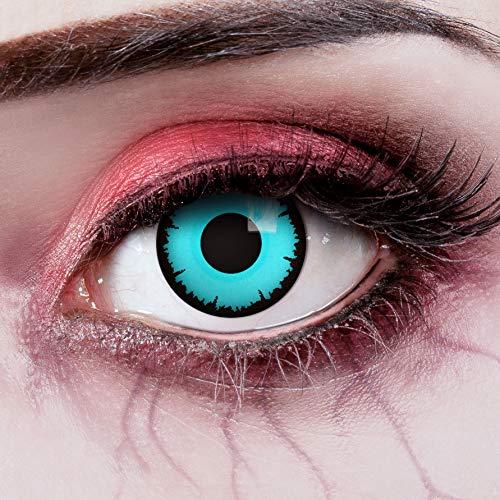 aricona Kontaktlinsen Farblinsen - Blaue farbige Jahreslinsen - Halloween Kontaktlinsen blau ohne Stärke