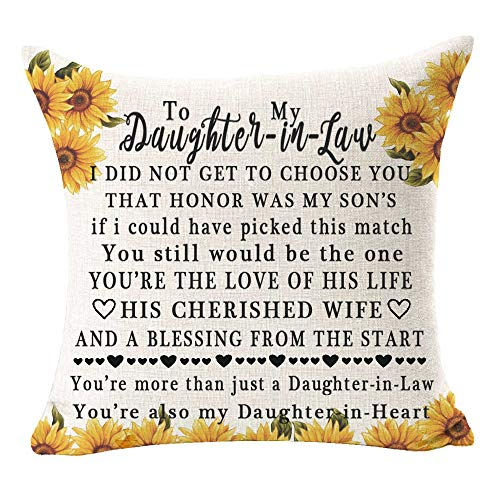 Bnitoam Sunflowers to My Daughter-in-Law Best Gift I Love You Quote Square Cotton Linen Decorative Throw Pillow Cover Cushion Case for Outdoor Bed Sofa Bar Wedding Couch Family 18inches (A) (B1)