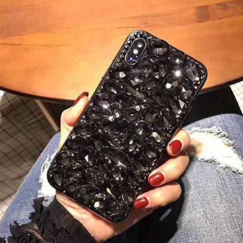 Miagon Glänzend Hülle für Samsung Galaxy S20 Ultra,3D Handschlaufe Glitzer Bling Strass Hülle Diamant Transparent Handyhülle Bumper Case Tasche Schutzhülle,Schwarz