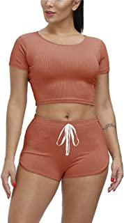 Two Piece Outfits for Women - Summer Sexy Crop Tops + Booty Shorts 2 Pc Set Biker Jogger Sportswear Active Tracksuits