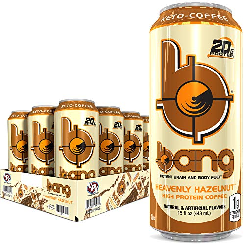 Bang Heavenly Hazelnut Keto Coffee Energy Drink, 20g Protein, 16 Ounce (Pack of 12)