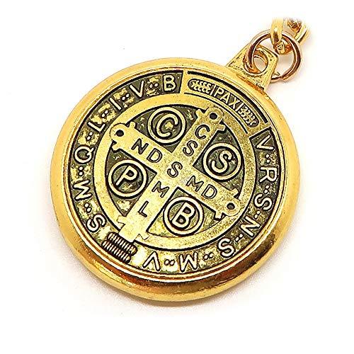 BOBIJOO Jewelry - Sleutel van de voordeur Vergulde Metalen Medaille Kruis, Sint-Benedictus van Nursia Bescherming Vintage