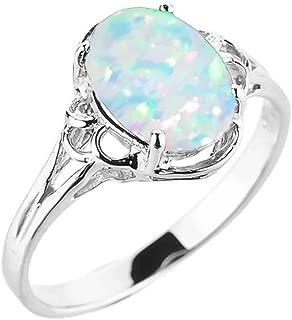 Elegant 10k White Gold Oval October Birthstone Solitaire Ring