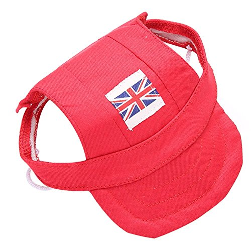 Tofover Pet Puppy Cat Baseball Cap,British Style Dog National Flag Sun Hat,Adjustable World Cup Theme Visored Cap