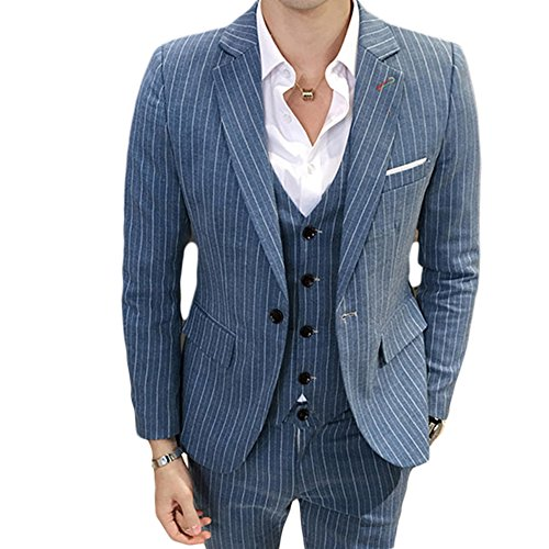 MAGE MALE Men's 3 Pieces Suit Pinstripe One-Button Slim Fit Stripe Single Breasted Notched Lapel Blazer Vest Pants Sets