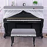 Luyol C + Funda para piano con tapa completa estándar vertical para piano, estilo europeo, malla de encaje, decoración de piano, incluye funda para piano y taburete para piano