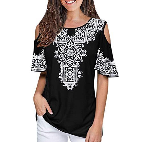 Xmiral Abbigliamento Donna Tshirt,Maglietta Donne Manica Taglie Forti Spalla Nuda Tops Pizzo Manica Cime Camicie Camicetta Blusa Sciolto Estate Elegante Casual XL Nero
