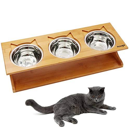 Petsoigné Katzennäpfe Hundenapf Hoch Katzenschüssel Set Keramik und Edelstahl mit Holzunterstützung Für Katzen Jeden Alters und Welpen (3 Näpfe, Edelstahl)