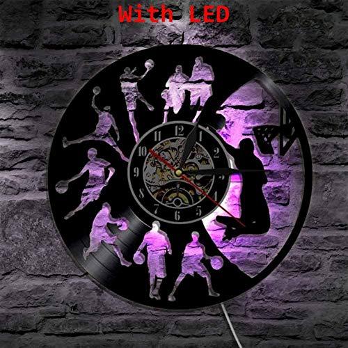 TIANZly Basketball Dunk LED Vinyl Uhr Wandleuchte Hintergrundbeleuchtung Vintage Modern Lp Handmade Geschenk Dekor Lampe Fernbedienung-with_Led
