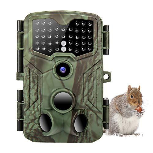 Wildkamera 16MP & 1080P Wildtierkamera mit 2 Zoll LCD Bildschirm IP54 Nachtsichtkamera, Design für Jagd, Überwachung von Eigentum und Tieren