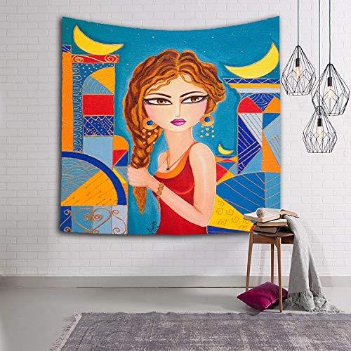 N / A Poliéster Indio niña Mandala Tapiz Hippie Tapiz Colgante de Pared Puerta Cortina Colcha Toalla de Playa decoración del hogar Tapiz A7 130x150cm