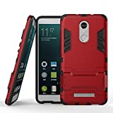 Funda para Xiaomi Redmi Note 3 / Redmi Note3 Pro (5,5 Pulgadas) 2 en 1 Híbrida Rugged Armor Case Choque Absorción Protección Dual Layer Bumper Carcasa con Pata de Cabra (Rojo)