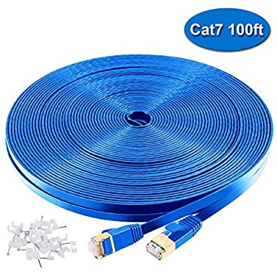 Cat7 Ethernet Cable 100ft Blue,High Speed 10Gbps 600MHz Computer Networking Cable - Flat LAN Internet Shielded(SPT) Wire Cable with Snagless RJ45 Connectors for PS3 PS4 X-Box Gaming,Hubs, Routers