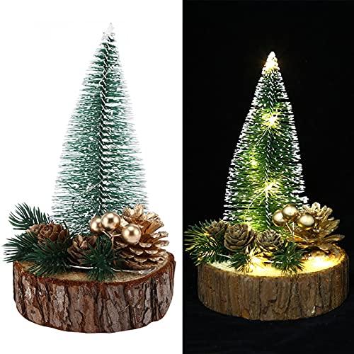 Mini árbol de Navidad de 2 Piezas, árbol de Navidad de Mesa LED, árbol de Navidad de Escritorio Luminoso, árbol de Navidad pequeño para Decoraciones de Fiesta de Navidad(Luz Blanca cálida)