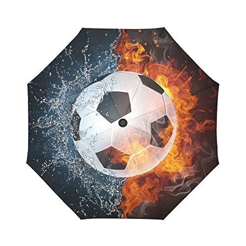 InterestPrint Soccer in Fire and Water Windproof Automatic Open and Close Foldable Umbrella,Vintage Sports Travel Compact Unbreakable Rain and Sun Umbrella