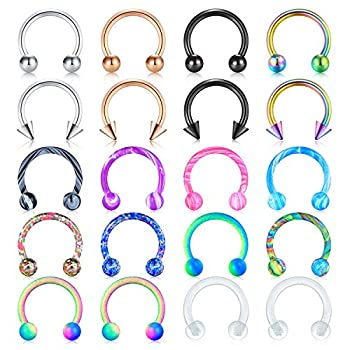 Mayhoop 16G Surgical Steel Horseshoe Nose Septum Rings Piercing Jewelry Cartilage Helix Tragus Earring Hoop Lip Horseshoe Piercing Retainer for Women Men 8mm