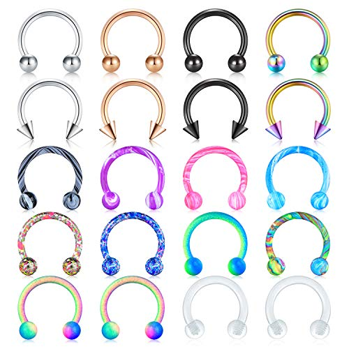 Mayhoop 16G Surgical Steel Horseshoe Nose Septum Rings Piercing Jewelry Cartilage Helix Tragus Earring Hoop Lip Horseshoe Piercing Retainer for Women Men 8mm