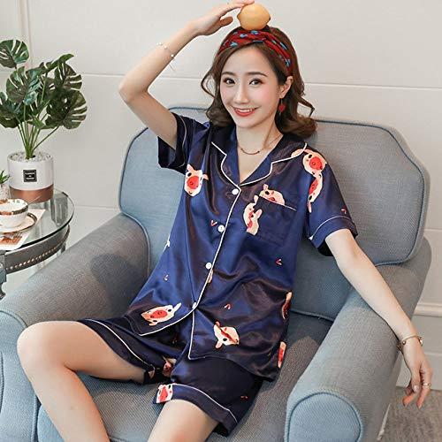 JFCDB Nachthemd Nieuwe plus size 3xl 4xl zomer faux zijden pyjama sets voor dames korte lengte dames lange pyjama set 80 kg 90 kg kan nachtkleding dragen, duan ks si zhu navy, s
