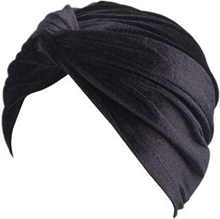 Women's Stretch Velvet Twist Pleasted Hair Wrap Turban Hat Cancer Chemo Beanie Cap Headwear