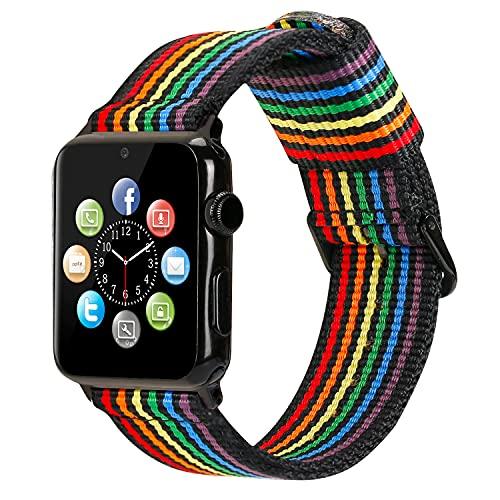 ESTUYOYA - Pulsera de Nailon Compatible con Apple Watch Colores Orgullo Gay LGBT Ajustable Deportiva Casual Elegante para 38mm 40mm Series 6/5 / 4/3 / 2/1 / SE/Nike+ - Black-Rainbow