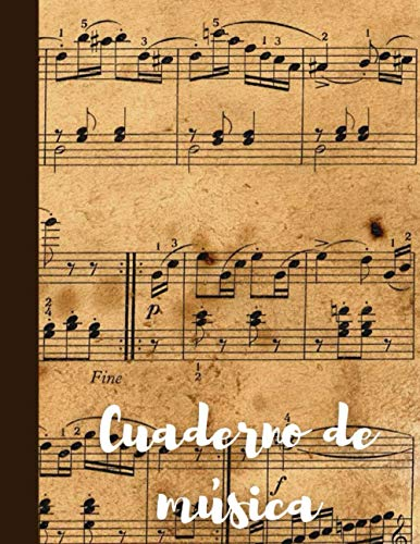 Cuaderno de música: Cuaderno pautado. Hojas con pentagramas tamaño carta.