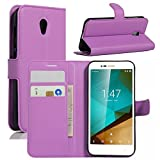 Funda Vodafone Smart Prime 7, HualuBro [Protección Todo Alrededor] Premium PU Cuero Leather Billetera Wallet Carcasa Case Flip Cover para Vodafone Smart Prime 7 Smartphone