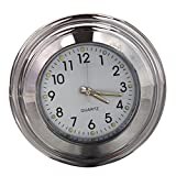 tellaLuna Accesorio impermeable para moto: 7/8 'motocicleta bicicleta mango soporte tiempo reloj plata + blanco