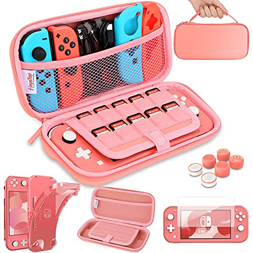 HEYSTOP Compatible with Switch Lite Carrying Case, Switch Lite Case with Soft TPU Protective Case Games Card 6 Thumb Grip Caps for Nintendo Switch Lite Accessories Kit(Pink)