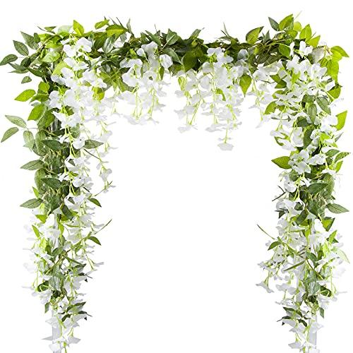 VINFUTUR 2m×5pcs Guirnalda de Flores Artificiales Wisteria, Plantas de Flores Falsas Guirnalda...