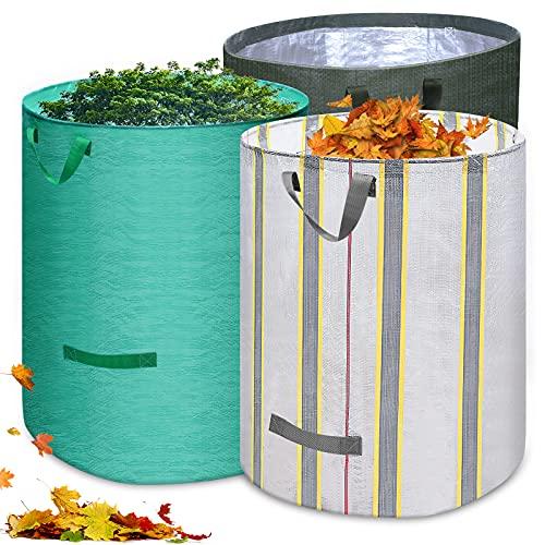 Huarumei Gartenabfallsack 3 Farben Gartensack,272L Gartenabfallsäcke Faltbar und multifunktional Gartenabfallsack Selbstaufstellend