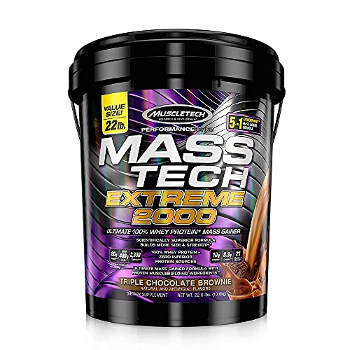 Muscletech Performance Series Mass Tech Extreme 2000 (Post-Workout, 80g Protein, Over 400g Carbs, 2260 Calories) - 22 lbs (10 kg) (Triple Chocolate Brownie)