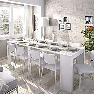 HABITMOBEL Mesa de Comedor Consola Extensible hasta 239 cm Acabado Blanco Brillo