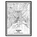 Toledo Ohio Vereinigte Staaten Karte Wandkunst Leinwand