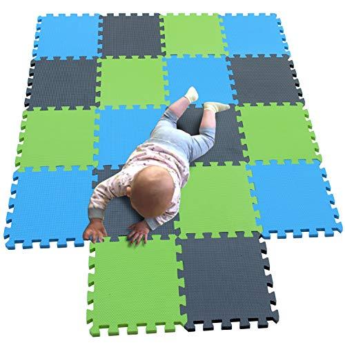 MQIAOHAM juego de enclavamiento juego de bebé tapetes para niños tapetes para niños foammats playmats estera del rompecabezas bebé niños tapete tapete tapete Azul Gris Frutaverde 107112115