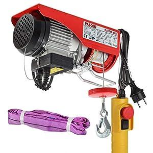 Partsam Polipasto eléctrico 300/600kg 1050W 1320lbs Overhead Polipasto Eléctrico Cable Eléctrico Polipasto Garage Auto Shop