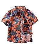 Camisa Manga Corta - Camisa Bebé-Niños Camisa Hawaiana Camiseta Shirt Tops Blusa Naranja 90