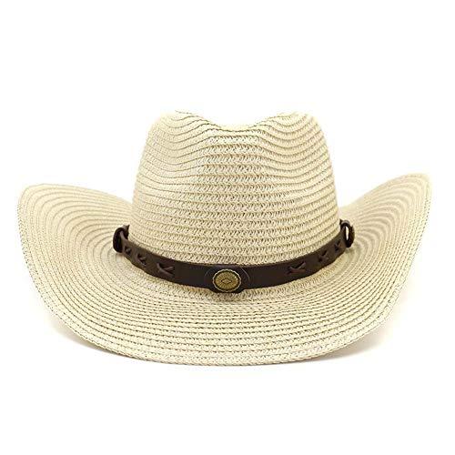 Azly-Caps Paille avec des Chapeaux de Cow-Boy de Ceinture, Chapeaux de Soleil de Bord Large Pliables avec la Ficelle de Cou de Cordon, Casquettes de Plage Panama,Beige
