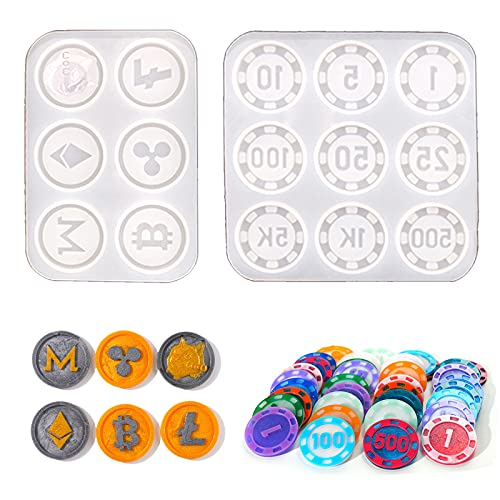 JIATUSHIYE Bitcoin Poker Chips Game Coin Resin Molds, Epoxy Silicone Casting Collection Coins Mold DIY Crafts Virtual Currency(2 Pcs)