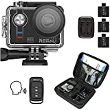 REMALI CapturePro 4K/60fps 20MP Waterproof Sports Action Camera Kit with Carrying Case + 3 Batteries, WiFi, 2' Touch Screen, 8X Zoom, Slow/Fast Motion, Remote/Voice Control, EIS, Distortion Correction
