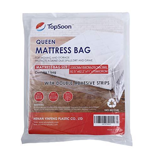 Topsoon Queen Size Borsa per materassi per uso professionale con doppie strisce adesive 92,5 'x11' x62,2 'Spessore 75 micron per l'immagazzinamento e lo spostamento del materasso